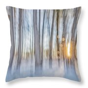 Trees, Snow And Golden Light Abstract Throw Pillow