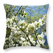 Trees Sunlit White Dogwood Art Print Botanical Baslee Troutman Throw Pillow