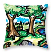Trees W Water Ddl Throw Pillow