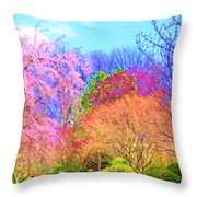 Trees With Color Throw Pillow
