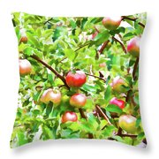 Trees With Red Apples In An Orchard Throw Pillow