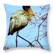 Treetop Stork Throw Pillow