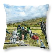 Treshing Rice Throw Pillow