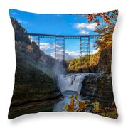 Tressel Over The High Falls Throw Pillow by Dick Wood