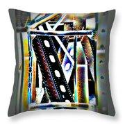Trestle Detail Black Yellow Throw Pillow
