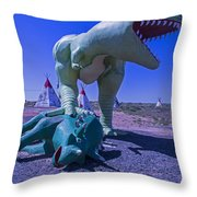 Trex And Triceratops  Throw Pillow