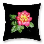 Tri-color Pink Rose2 Cutout Throw Pillow