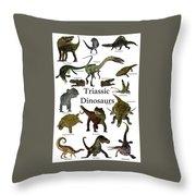 Triassic Dinosaurs Throw Pillow