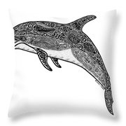 Tribal Dolphin Throw Pillow by Carol Lynne