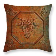Tribal Dragon Head In Octagon With Dragon Chinese Characters Distressed Finish Throw Pillow