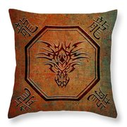 Tribal Dragon Head In Octagon With Dragon Chinese Characters Throw Pillow