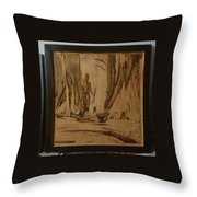 Tribal Man With Wooden Waste Throw Pillow
