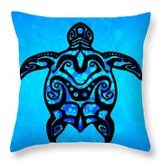 Tribal Turtle Hibiscus Throw Pillow