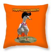 Trick Or Treat For Cap'n Duck Throw Pillow