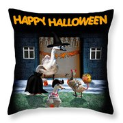 Trick Or Treat Time For Little Ducks Throw Pillow