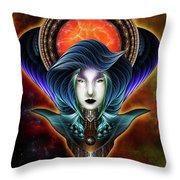 Trilia Red Nebula Fractal Art Portrait Throw Pillow