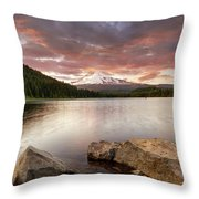 Trillium Lake Sunset Throw Pillow
