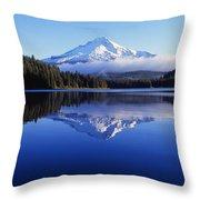 Trillium Lake With Reflection Of Mount Throw Pillow
