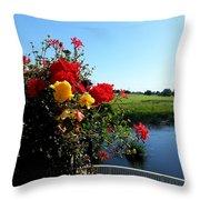 Trim Florals Throw Pillow