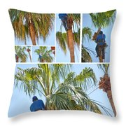 Trimming The Palm Trees Throw Pillow