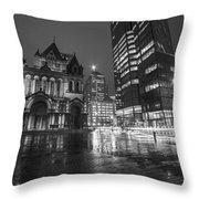 Trinity Church John Hancock Tower Boston Ma Black And White Throw Pillow