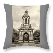Trinity College Arch - Dublin Ieland - Sepia Throw Pillow