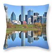 Trinity Park Water Reflects The Big D Throw Pillow
