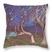 Trinity Tree By Moonlight Throw Pillow