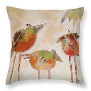 Trio Birds Throw Pillow