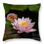 Trio Of Pink Lotus Waterlilies Throw Pillow