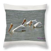 Trio Pelicans Throw Pillow