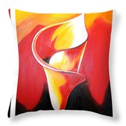 Triple Lily Paintings Throw Pillow