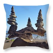 Triple Stack On Driftwood Throw Pillow