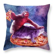 Trippy Space Sloth Turtle - Sloth Pizza Throw Pillow