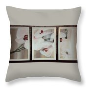 Triptic White Orchids On Light Background Throw Pillow