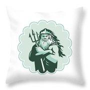 Triton Arms Crossed Trident Rosette Throw Pillow