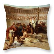 Triumph Of Faith    Christian Martyrs In The Time Of Nero Throw Pillow