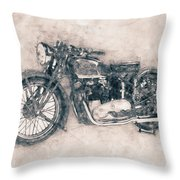 Triumph Speed Twin - 1937 - Vintage Motorcycle Poster - Automotive Art Throw Pillow