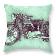 Triumph Speed Twin 3 - 1937 - Vintage Motorcycle Poster - Automotive Art Throw Pillow