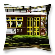 Trolley Car In Motion, New Orleans, Louisiana Throw Pillow