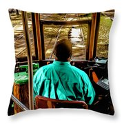 Trolley Driver In New Orleans Throw Pillow