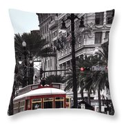 Trolley On Bourbon And Canal  Throw Pillow