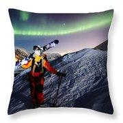 Tromso Winter Skiing Throw Pillow