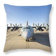 Troops Stand On The Wings Of A C-130 Throw Pillow
