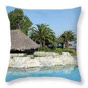 Tropic Bar Vacation Summer Scene Throw Pillow
