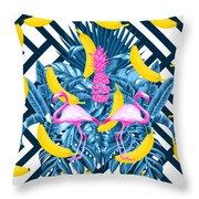 Tropical Banana Pink   Throw Pillow