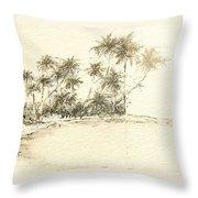 Tropical Beach Drawing Throw Pillow