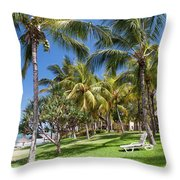 Tropical Beach I. Mauritius Throw Pillow