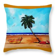 Tropical Beach Scene Throw Pillow