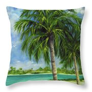 Tropical Beach Two Throw Pillow